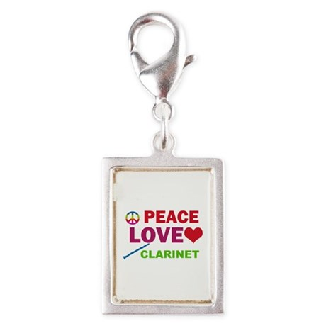 Peace Love Clarinet Silver Portrait Charm