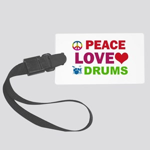 Peace Love Drums Large Luggage Tag
