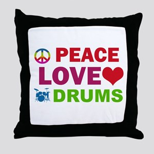 Peace Love Drums Throw Pillow