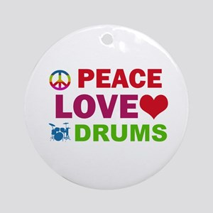 Peace Love Drums Ornament (Round)