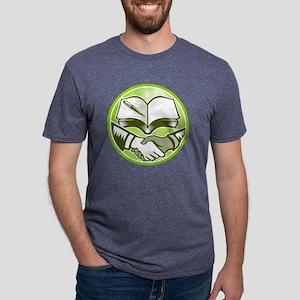Handshake Book Pen Woodcut  Mens Tri-blend T-Shirt