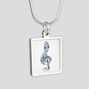 Silver Treble Clef Silver Square Necklace