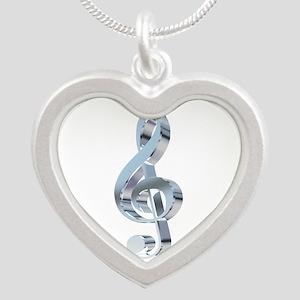 Silver Treble Clef Silver Heart Necklace