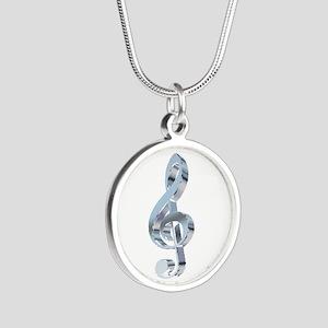 Silver Treble Clef Silver Round Necklace