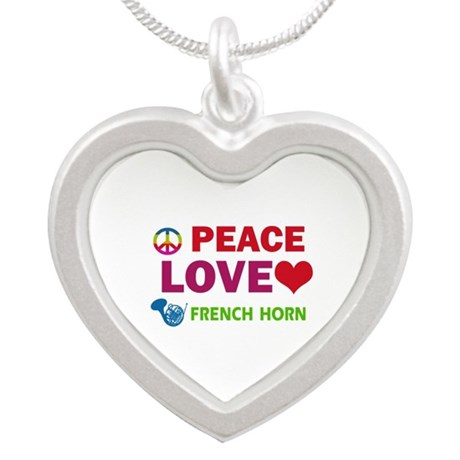 Peace Love French Horn Silver Heart Necklace