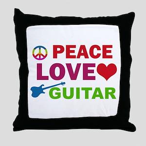 Peace Love Guitar Throw Pillow