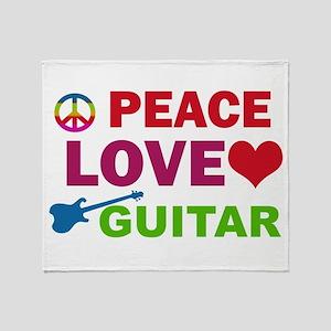 Peace Love Guitar Throw Blanket