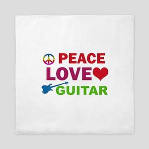 Peace Love Guitar Queen Duvet