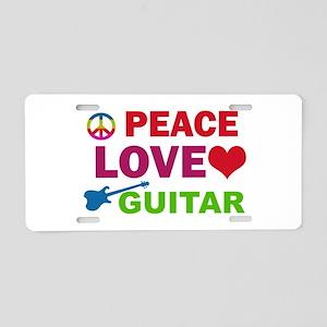 Peace Love Guitar Aluminum License Plate