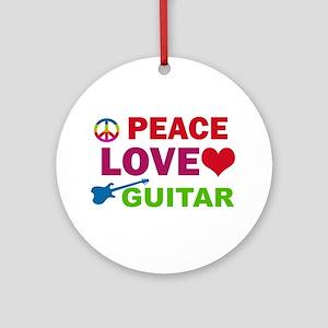 Peace Love Guitar Ornament (Round)