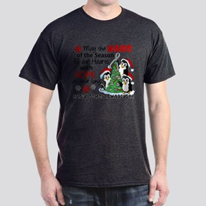 Holiday Penguins Brain Tumor Dark T-Shirt