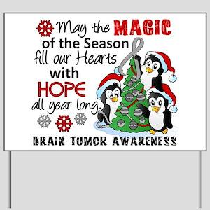 Holiday Penguins Brain Tumor Yard Sign