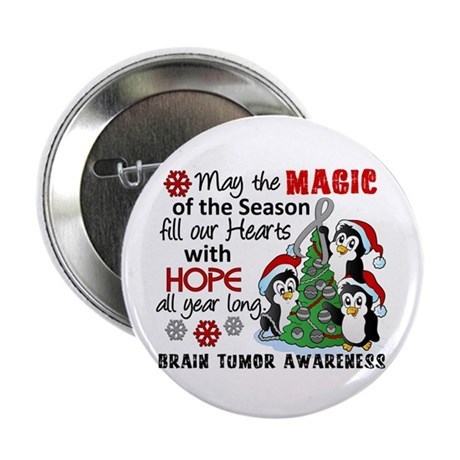 """Holiday Penguins Brain Tumor 2.25"""" Button (10 pack"""