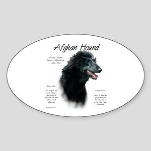 Afghan Hound (black) Sticker (Oval)