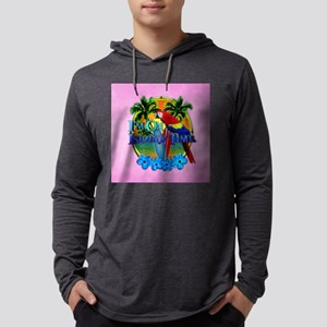 Island Time Surfing Pink Mens Hooded Shirt