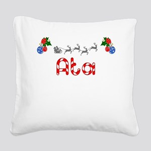 Ata, Christmas Square Canvas Pillow