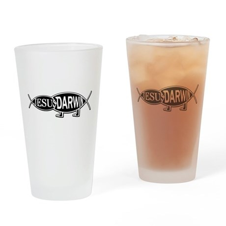DARWIN VS. JESUS Drinking Glass