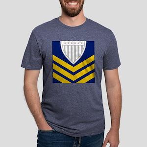 2-USCG-Rank-PO1-Tile-Embroi Mens Tri-blend T-Shirt