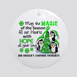 Holiday Penguins NH Lymphoma Ornament (Round)