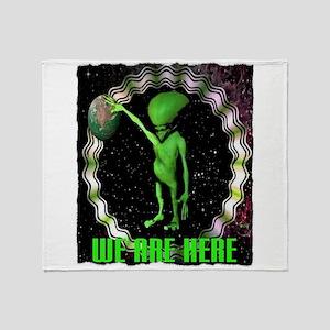 we are here alien art illustration Throw Blanket