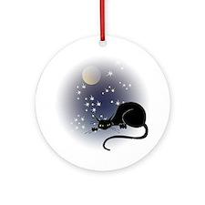 Nocturnal Black Cat II Ornament (Round)