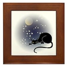 Nocturnal Black Cat II Framed Tile
