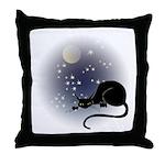 Nocturnal Black Cat II Throw Pillow
