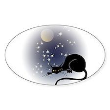 Nocturnal Black Cat II Oval Sticker