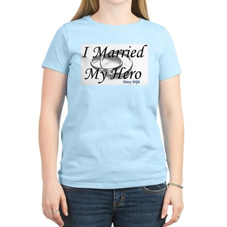I Married My Hero, NAVY WIFE Women's Pink T-Shirt