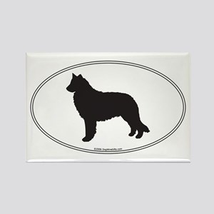 Belgian Sheepdog Silhouette Rectangle Magnet