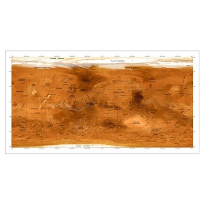 Mars topographical map, satellite image Poster