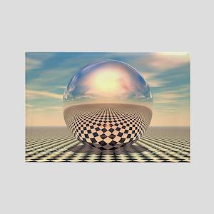 Checker Ball Rectangle Magnet
