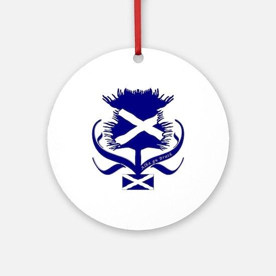 Scottish Navy Blue Thistle Ornament (Round)