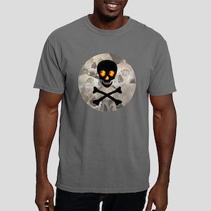 Flaming Skull Button Mens Comfort Colors Shirt