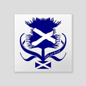 "Scottish Navy Blue Thistle Square Sticker 3"" x 3"""