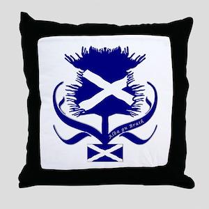 Scottish Navy Blue Thistle Throw Pillow