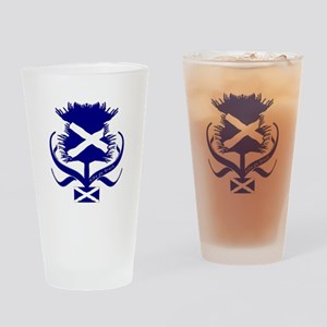 Scottish Navy Blue Thistle Drinking Glass