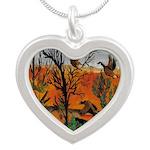 Ducks in Flight Silver Heart Necklace
