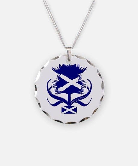 Scottish navy blue thistle Necklace