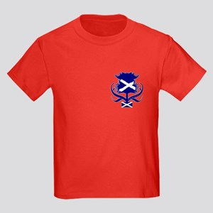 Scottish navy blue thistle Kids Dark T-Shirt