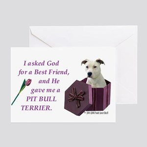 Pit Bull Terrier (White) Greeting Cards (Package o