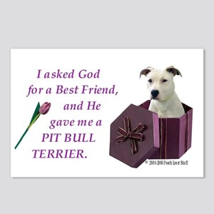 Pit Bull Terrier (White) Postcards (Package of 8)