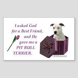 Pit Bull Terrier (White) Rectangle Sticker