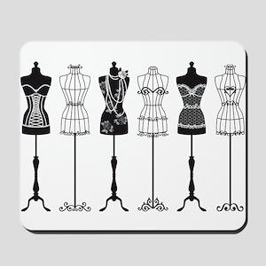 Vintage fashion mannequins silhouettes Mousepad