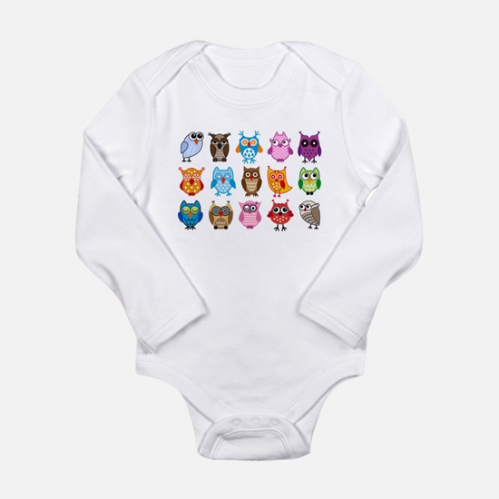 Colorful cute owls Long Sleeve Infant Bodysuit