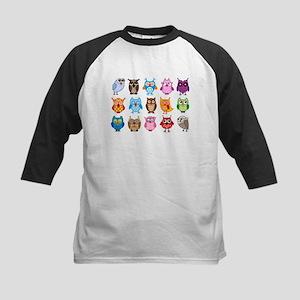 Colorful cute owls Kids Baseball Jersey