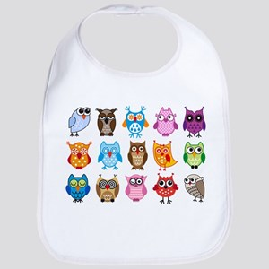Colorful cute owls Bib