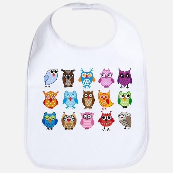 Colorful cute owls Bib
