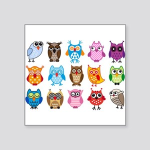 "Colorful cute owls Square Sticker 3"" x 3"""