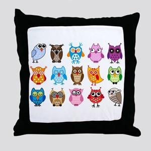 Colorful cute owls Throw Pillow